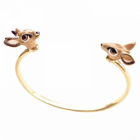 Bracciale rigido bangle oro Bambi in porcellana