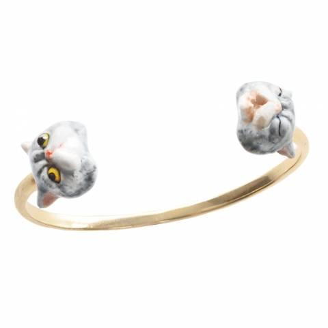 Bracciale rigido bangle oro Gatto grigio doppio in porcellana