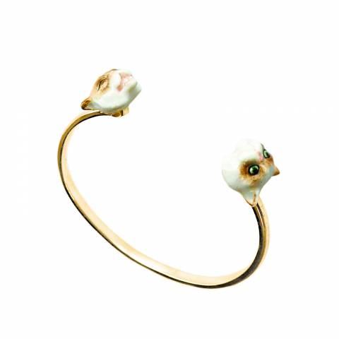 Bracciale rigido bangle oro Gatto Siamese in porcellana