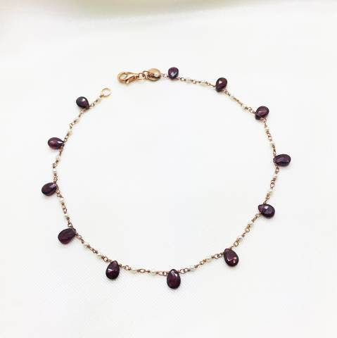 Cavigliera argento 925 oro rosa Ametista e Perle