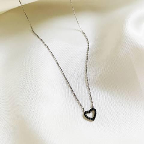 Collana argento 925 micro cuore nero