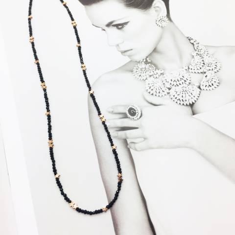 Collana argento 925 oro rosa micro Spinelli neri tondi e doppie stelline Pirite