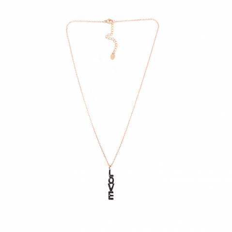 Collana argento 925 oro rosa pendente scritta Love Zirconi neri