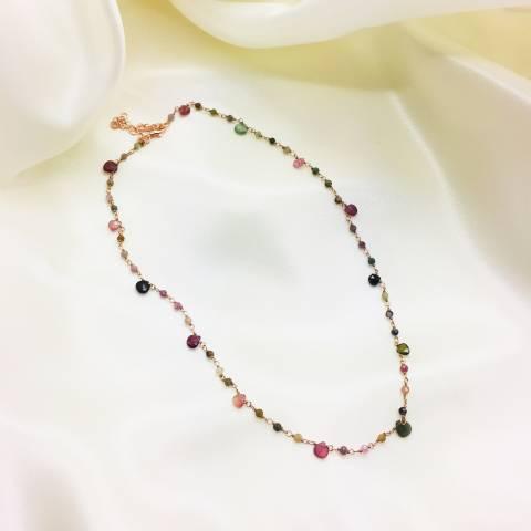 Rose gold sterling silver multicolor drop-cut Tourmaline necklace