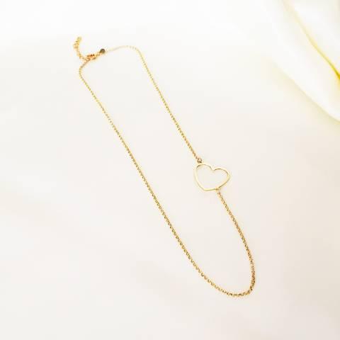 Collana Big heart argento 925 oro giallo
