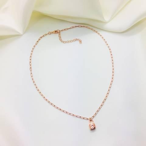 Collana catena rettangolare argento 925 oro rosa Lucchetto