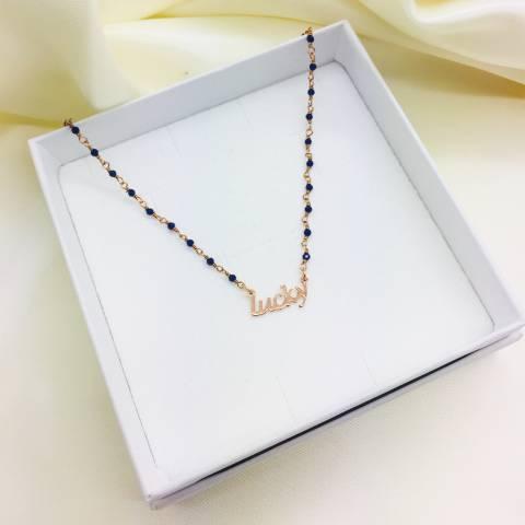 Collana choker argento 925 oro rosa rosario Lapis blu Lucky