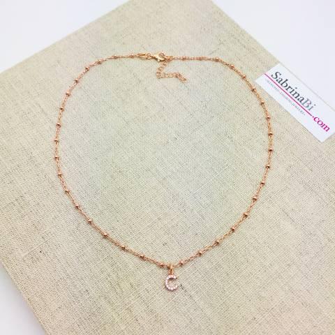 Collana choker argento 925 oro rosa rosario lettera iniziale nome Zirconi