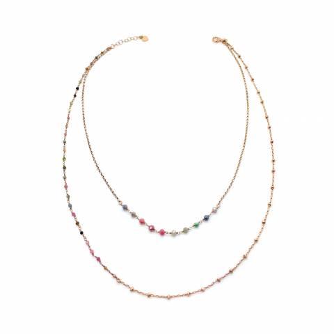 Collana doppia argento 925 oro rosa Ruth