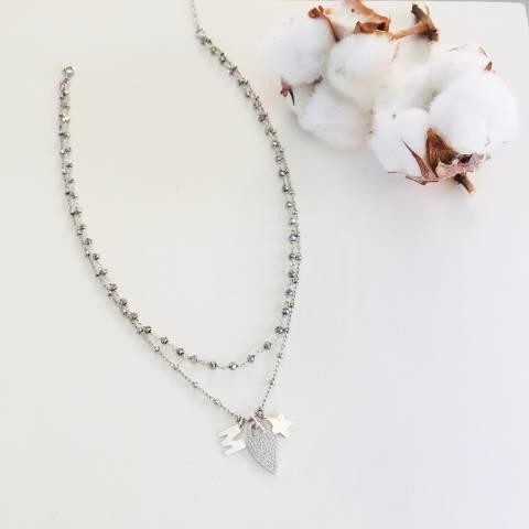 Collana due fili argento 925 rosario Ematite e cuore Zirconi