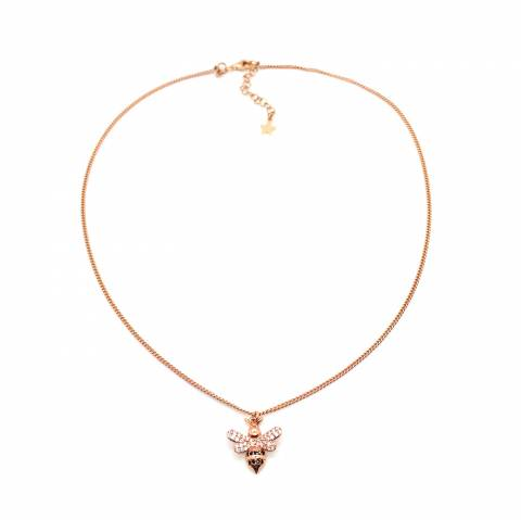 Collana girocollo argento 925 oro rosa Ape Zirconi