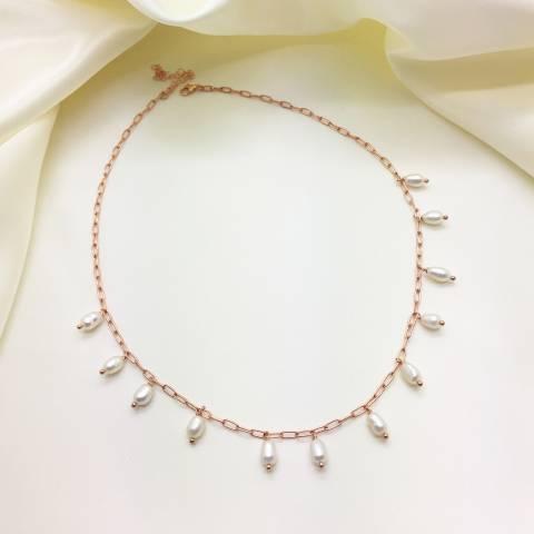 Collana girocollo argento 925 oro rosa Perle naturali pendenti