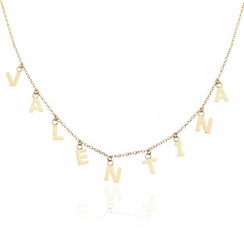 Collana girocollo oro 9K con 6 lettere pendenti