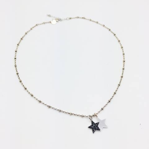 Collana girocollo rosario argento 925 Due Stelle
