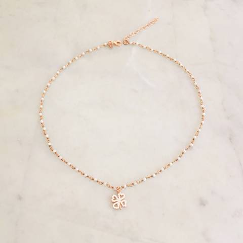 Rose gold sterling silver rosary chain white pearls and clover necklace