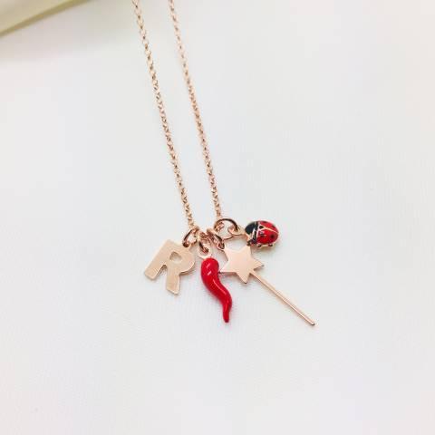 Collana I piccolini argento 925 oro rosa Iniziale, bacchetta magica, coccinella e cornetto