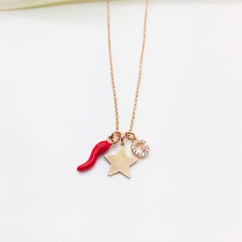 Collana I piccolini argento 925 oro rosa Iniziale, stella e cornetto
