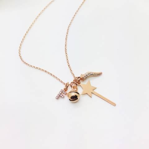 Collana lunga I piccolini argento 925 oro rosa Iniziale, cornetto, bacchetta e campanellino