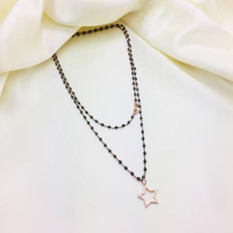 Collana lunghissima argento 925 oro rosa rosario Ematite e stella Zirconi