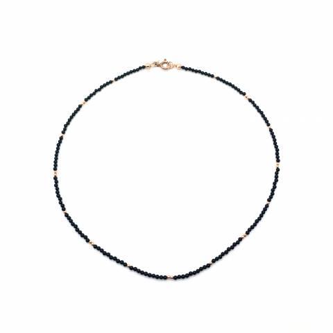 Collana micro Spinelli neri tondi e perline argento 925 oro rosa