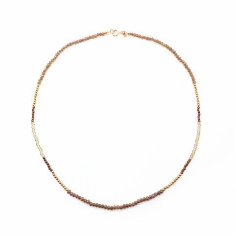 Collana Pirite, cristalli e perline argento 925 oro rosa