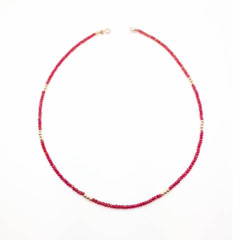 Collana Radice di Rubino e perline argento 925 oro rosa