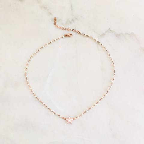 Rose gold sterling silver rosary chain white pearls and Zirconia star necklace