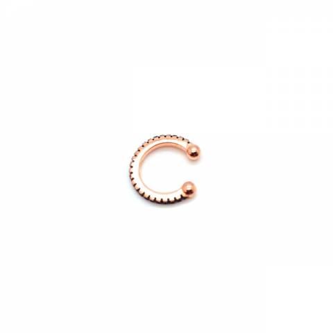 Mono ear cuff mini cerchio zirconato nero argento 925 oro rosa