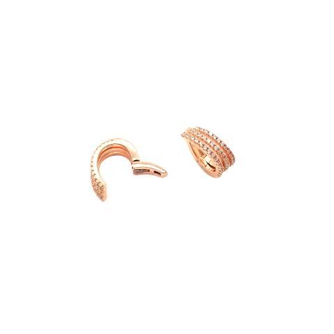 Mono ear cuff triplo mini cerchio zirconato argento 925 oro rosa
