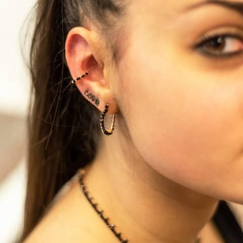 Mono orecchino rampicante argento 925 oro rosa Love Zirconi neri