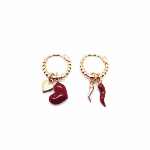 Orecchini a cerchio argento 925 oro rosa Love and Luck 2