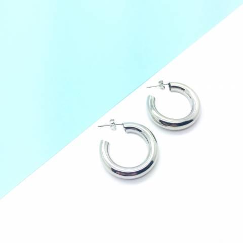 Orecchini a cerchio tubolare argento 925