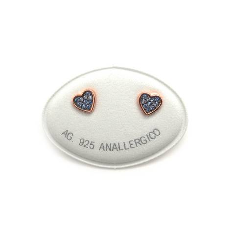 Orecchini a lobo argento 925 oro rosa cuore piccolo Zirconi azzurri
