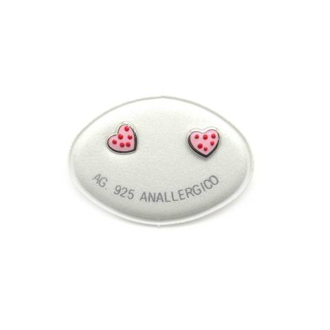 Pink hearts red dots sterling silver studs