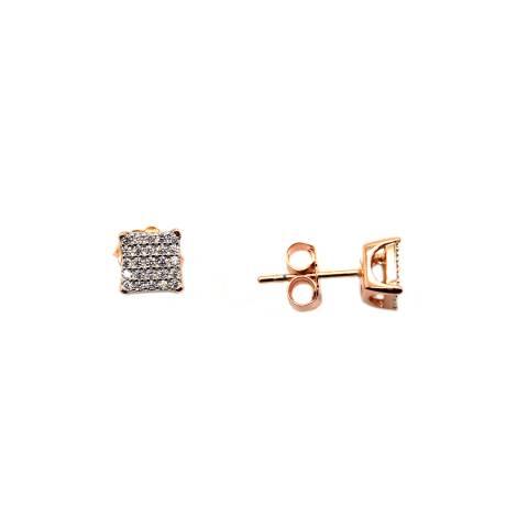 Orecchini lobo argento 925 oro rosa quadrato Zirconi