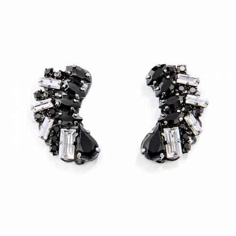 Orecchini luminosi corti in nero e cristalli Swarovski