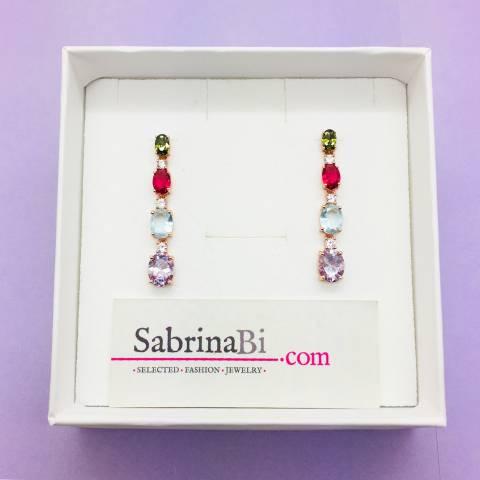 Orecchini pendenti argento 925 oro rosa Luxury Rainbow