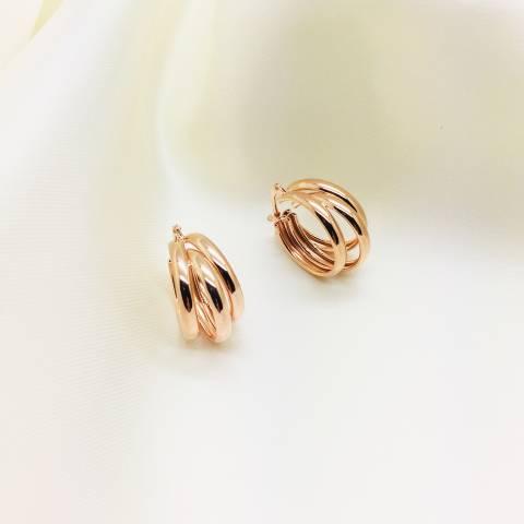 Orecchini triplo cerchio argento 925 oro rosa