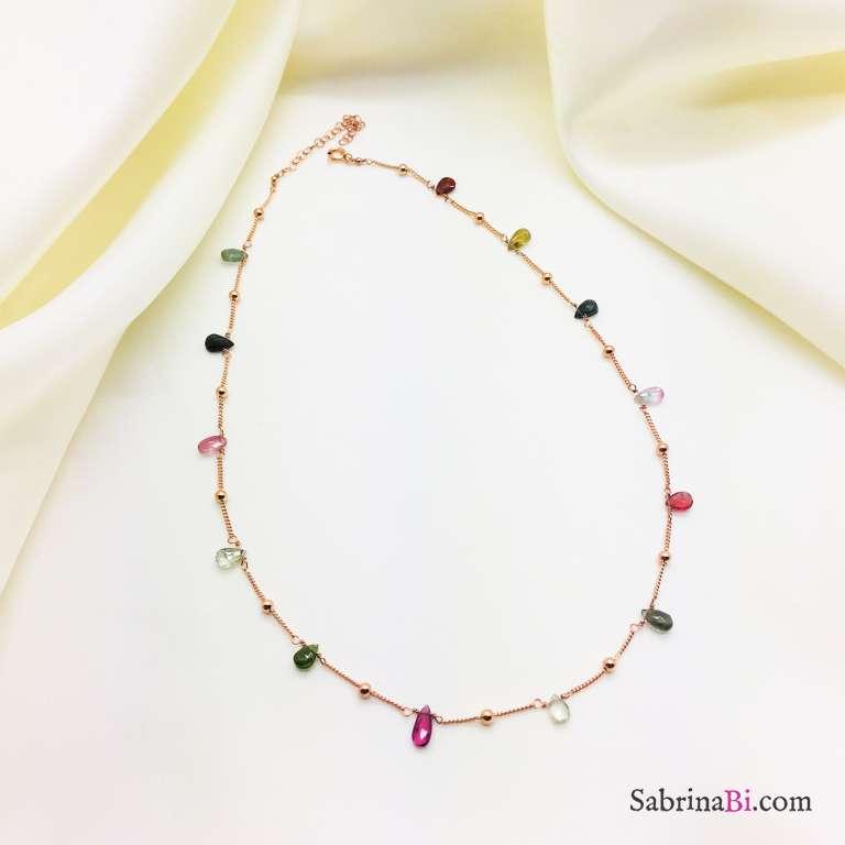 Collana girocollo rosario argento 925 oro rosa Tormaline goccia