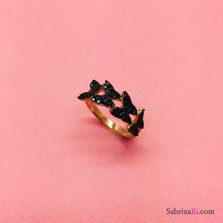 Anello argento 925 oro rosa Farfalle Zirconi neri