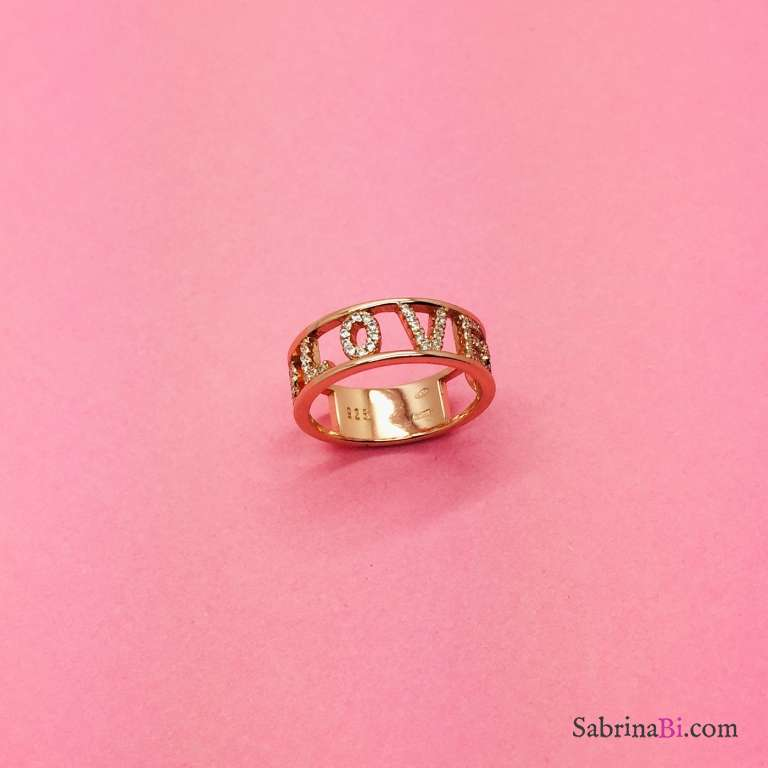 Anello argento 925 oro rosa Love