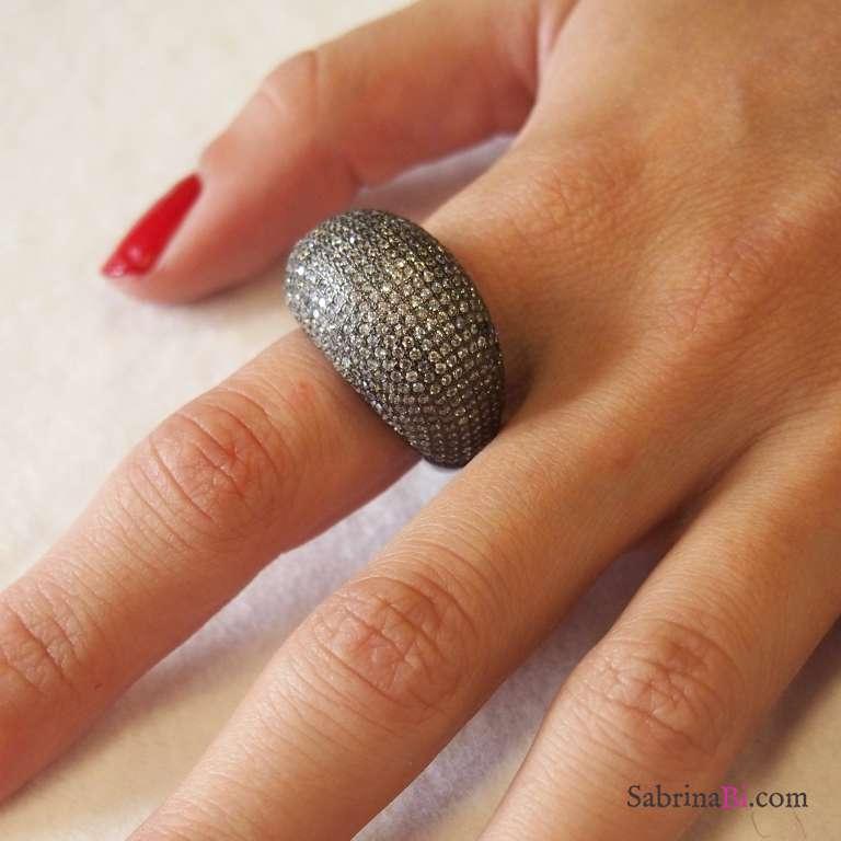 Anello argento 925 rodiato nero pavè bombato brillanti