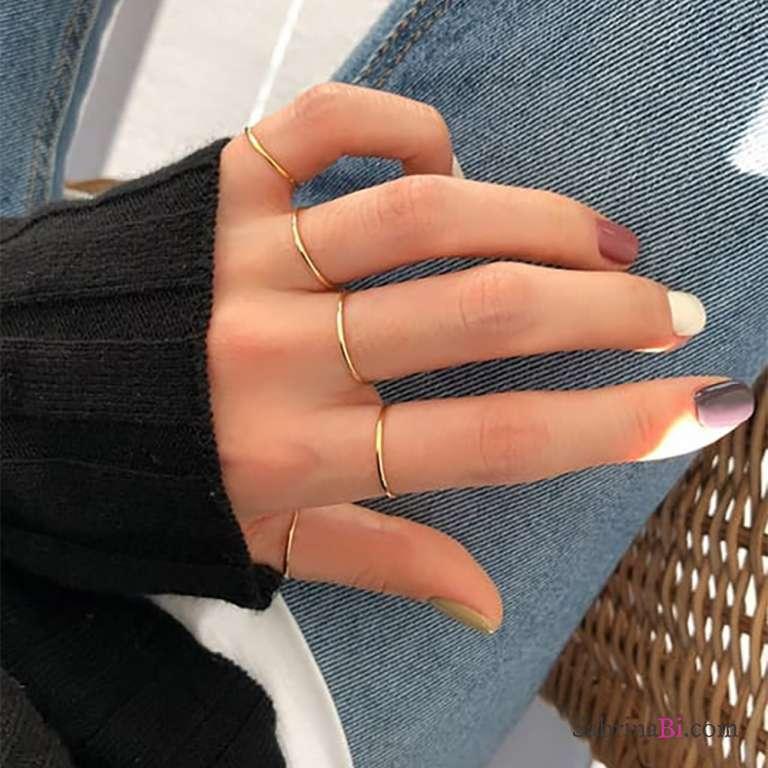 Anello fedina minimal argento 925 oro rosa