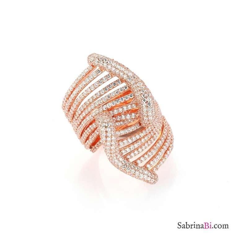 Anello Muse argento 925 oro rosa pavè brillanti