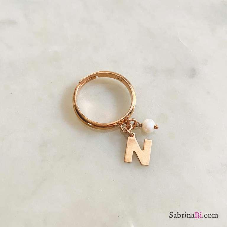 Anello regolabile argento 925 oro rosa Lettera e perla