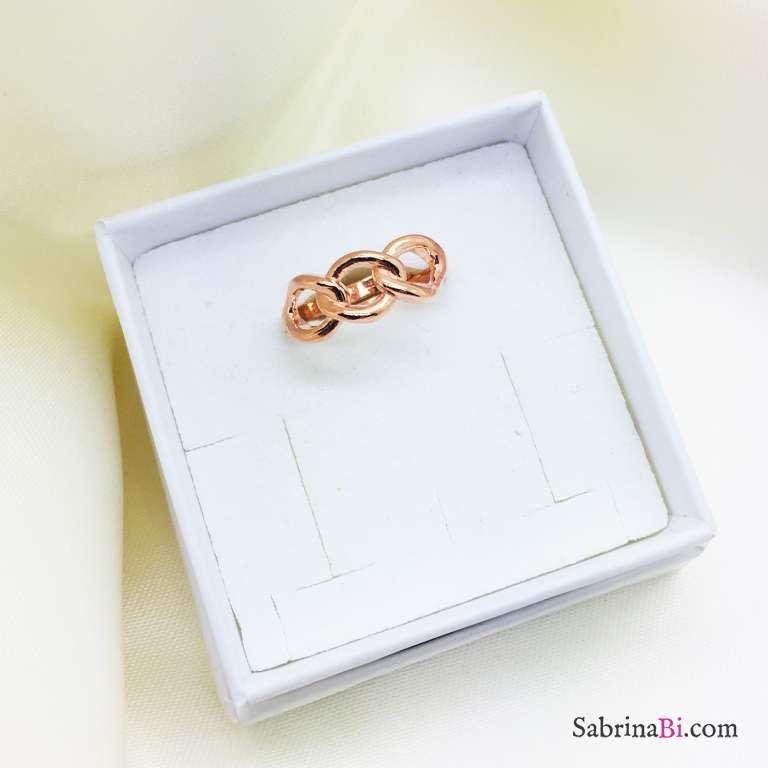 Anello regolabile Catena argento 925 oro rosa