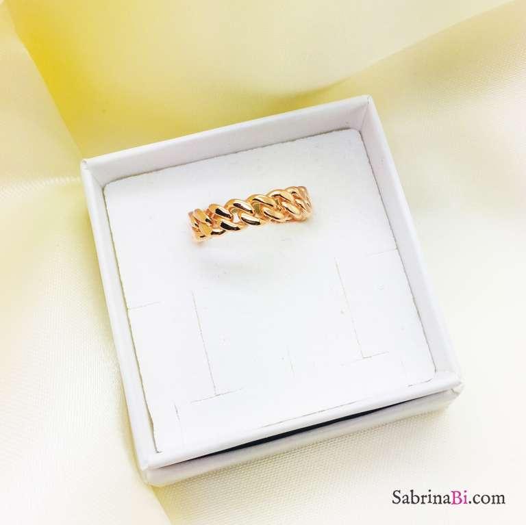 Anello regolabile Catena groumette argento 925 oro rosa