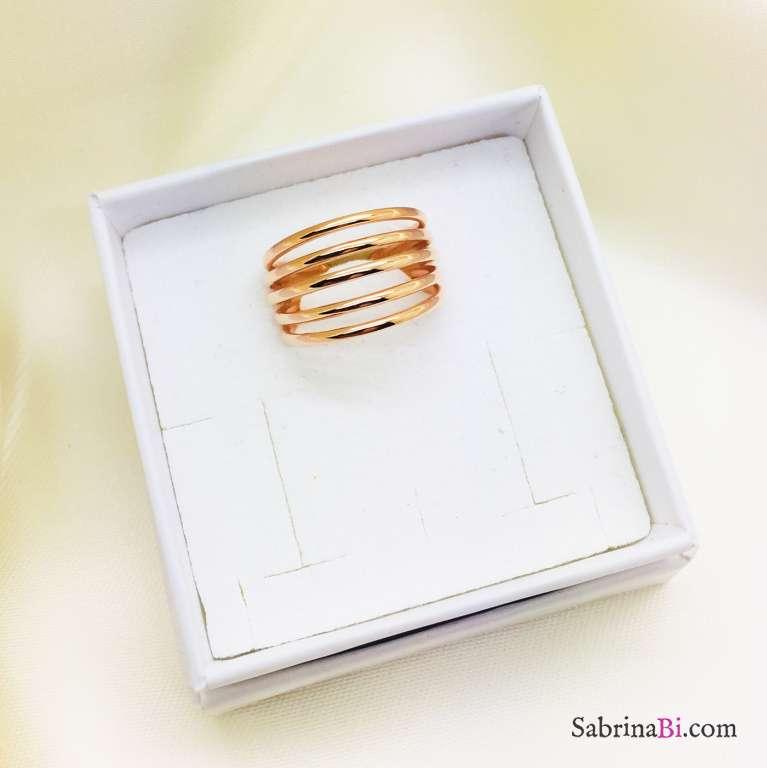 Anello regolabile fascia multifili argento 925 oro rosa