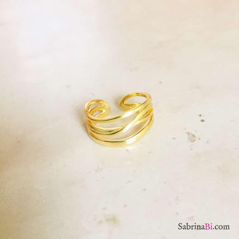 Anello regolabile Irregular argento 925 oro giallo