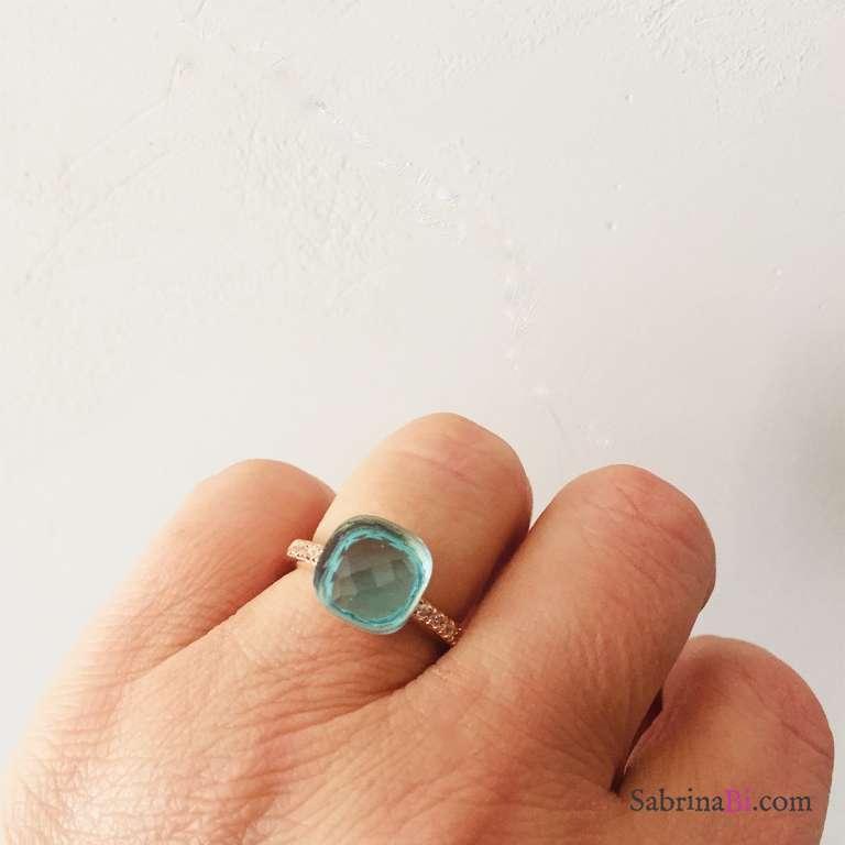 Anello regolabile Zirconato argento 925 oro rosa Nudo azzurro